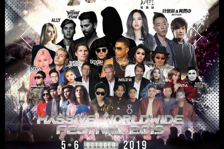 Konser Massive Worldwide Festival 2019 yang akan diselenggarakan di Batu Kawan Stadium, Penang, Malaysia, 5-6 Oktober 2019.