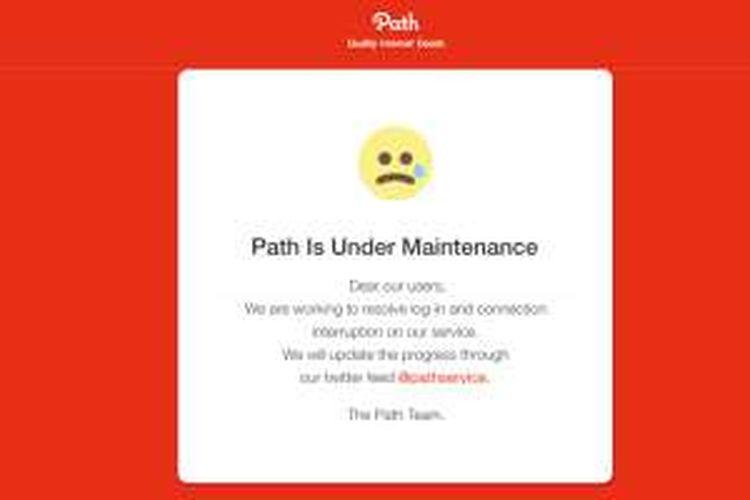 Path umumkan sedang mengalami gangguan di websitenya, Kamis (3/3/2016).