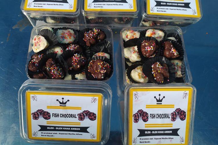 Produk olahan ikan bernama fishchocoral yang merupakan hasil dari program pelatihan pembuatan camilan berbahan ikan yang digelar Balai Pelatihan dan Penyuluhan Perikanan (BP3) Ambon.
