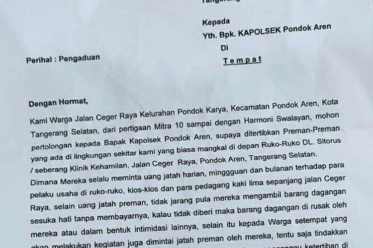 Tangkapan layar surat keluhan warga dan pedagang terkait adanya pelaku premanisme yang melakukan pungutan liar di Pondok Aren, Tangerang Selatan.