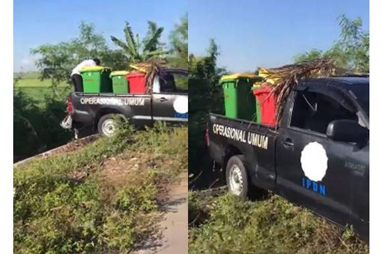 Sebuah video menampilkan mobil boks dengan logo IPDN sedang membuang sampah di sungai beredar di media sosial Facebook pada Rabu (19/6/2019).