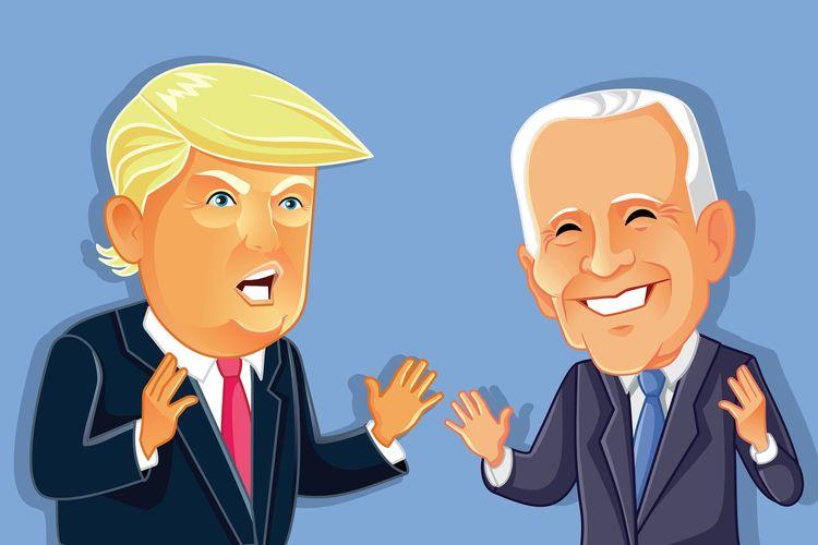 Ilustrasi Donald Trump dan Joe Biden, dua kandidat di Pemilu Presiden AS 2020