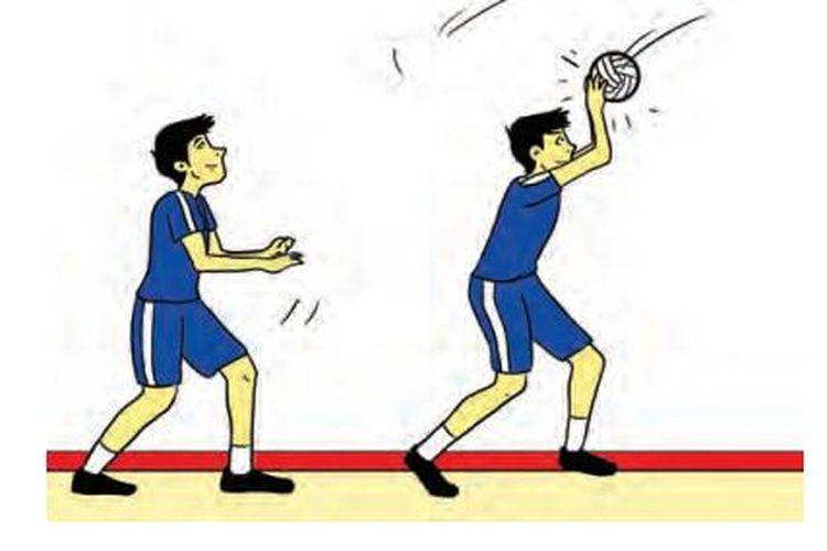 Ilustrasi passing atas dalam permainan bola voli