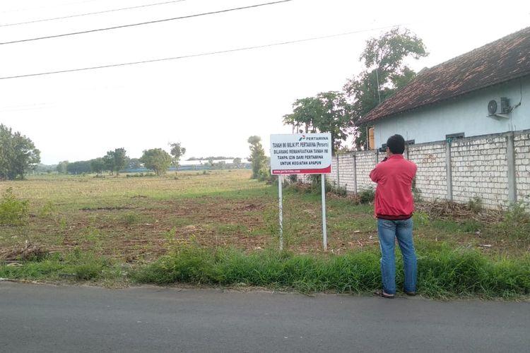 Salah satu lahan di Desa Sumurgeneng, Tuban, yang telah dibeli Pertamina untuk lahan proyek kilang minyak