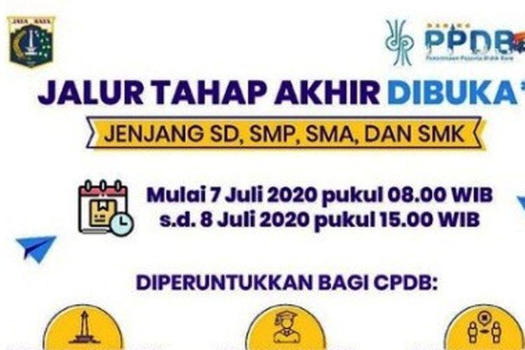 Info pendaftaran PPDB Jakarta Jalur Tahap Akhir.