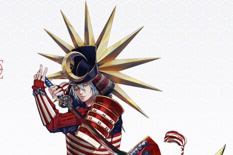 Malaysia yang digambarkan dalam karakter samurai oleh para seniman di Jepang dalam meramaikan Olimpiade Tokyo.