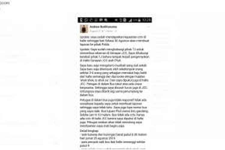 Akun Facebook Andrew Budikusuma.