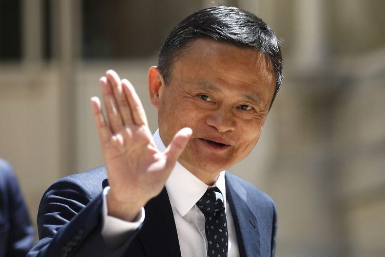 Foto tertanggal 15 Mei 2019 menampilkan salah satu pendiri Alibaba, Jack Ma, menghadiri acara Tech for Good di Paris, Perancis.