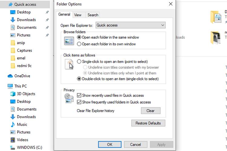 Cara menghapus riwayat di File Explorer