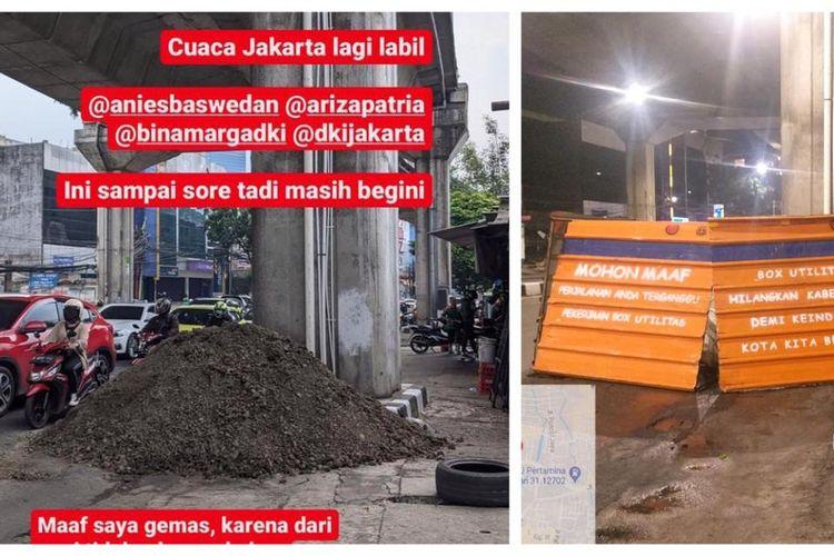 Proyek galian kabel utilitas di Jalan Kapten Tendean, Mampang Prapatan, Jakarta Selatan dikeluhkan warga.