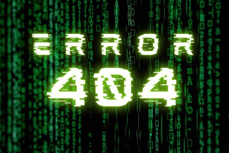Ilustrasi kode eror 404 Not Found di internet.