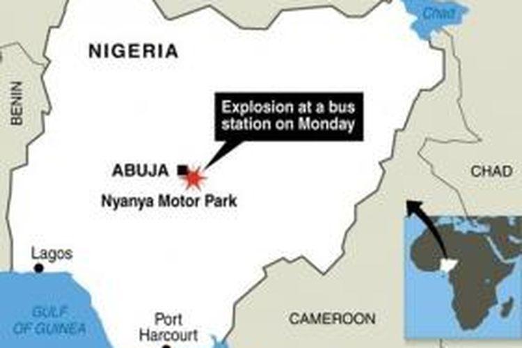 Peta ini menunjukkan lokasi terminal bus Nyanya di luar ibu kota Nigeria, Abuja tempat terjadinya ledakan.