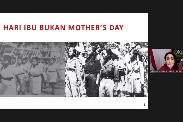 Ketua Kowani (Kongres Wanita Indonesia) Giwo Rubianto dalam webinar Hari Ibu Bukan Mothers Day yang digelar Kowani, Jumat (11/12/2020).