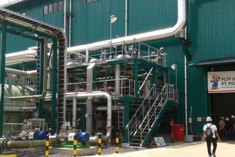 Pengolahan produksi listrik milik PT Pertamina Geothermal Energy di PLTP Lahendong unit 5 dan 6 di Tompaso, Kabupaten Minahasa, Sulawesi Utara.