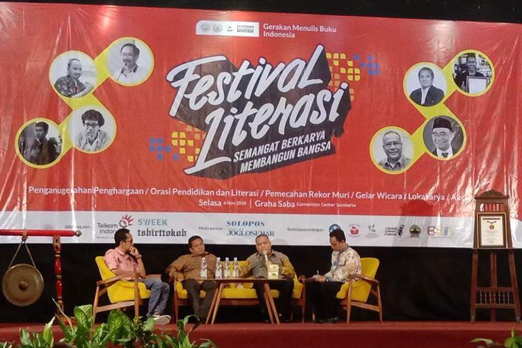 Acara Festival Literasi di Gedung Graha Saba Buana, Solo, Jawa Tengah pada Selasa (6/11/2018).