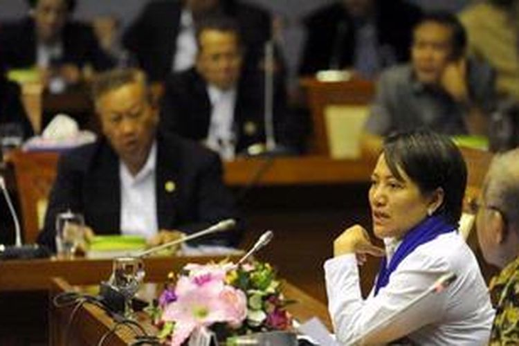 Suasana rapat pleno BAdan Legislasi (BAleg) DPR membahas RUU tentang Perubahan Atas UU Nomor 42 Tahun 2008 tentang Pemilihan Umum Presiden dan Wakil Presiden yang dipimpin Ketua Baleg DPR Ignatius Mulyono (kanan) didampingi Wakil Ketua Baleg DPR Anna Muawanah (dua dari kanan) di Kompleks Parlemen, Senayan, Jakarta, Selasa (4/12/2012). Pengambilan keputusan terhadap RUU Pilpres tersebut ditunda hingga masa sidang berikutnya, karena mayoritas fraksi meminta penambahan waktu untuk pembahasan lebih dalam.