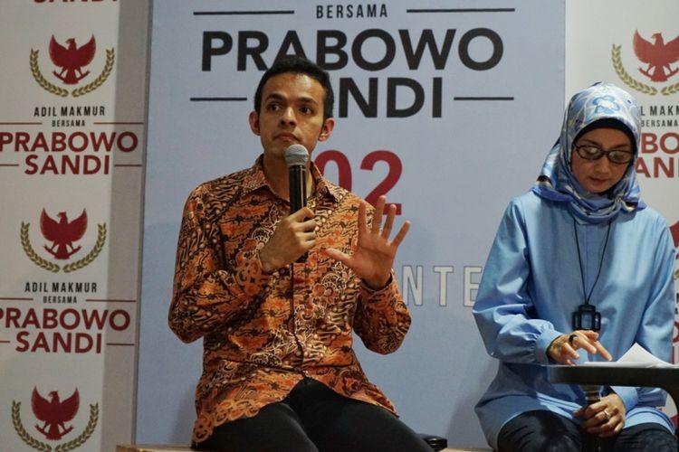 Juru Bicara Badan Pemenangan Nasional pasangan Prabowo Subianto-Sandiaga Uno, Gamal Albinsaid, saat ditemui di media center BPN Prabowo-Sandiaga, Jalan Sriwijaya, Jakarta Selatan, Rabu (10/10/2018).