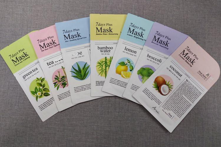 Ariul 7 Days Mask Plus, sheet mask yang dilengkapi dengan mask starter untuk eksfoliasi kulit wajah.