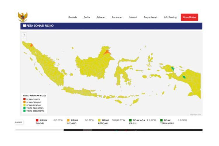 Peta zona risiko Covid-19 di Indonesia, berdasarkan update 3 Oktober 2021. Nol zona merah Covid-19 di Indonesia, hampir seluruh wilayah berisiko rendah.