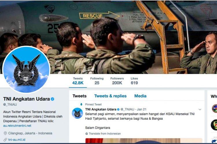 Tampilan halaman depan akun Twitter @_TNIAU per 24 September 2017.