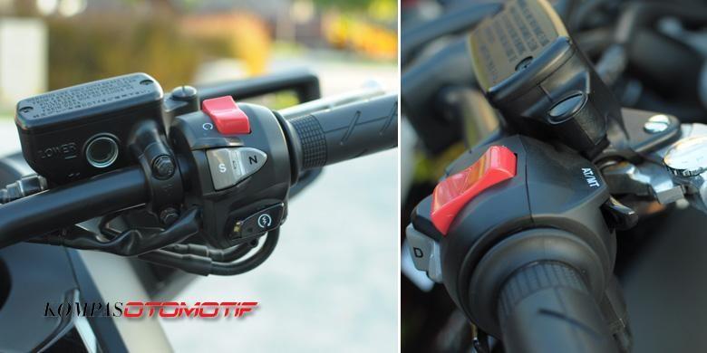 Transmisi kopling ganda Honda NM4 Vultus dioperasikan dari setang.