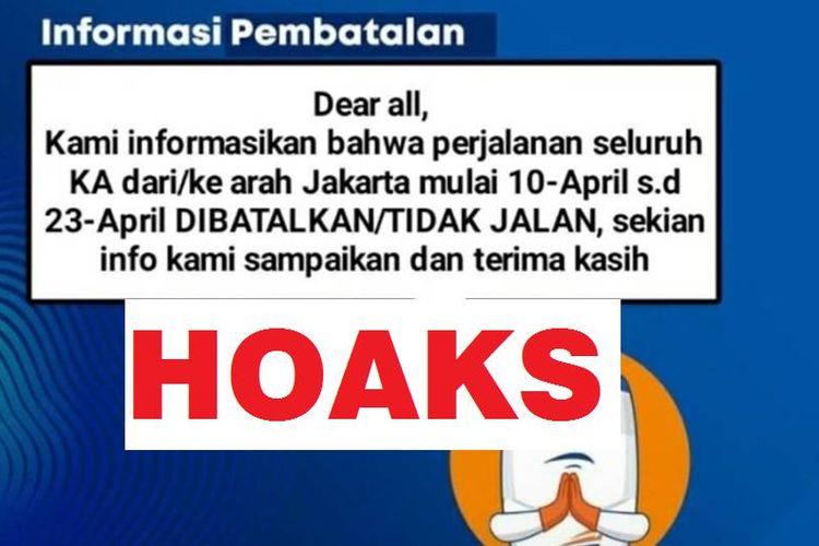 Tampilan layar informasi hoaks pembatalan seluruh perjalanan KA dari dan ke Jakarta.
