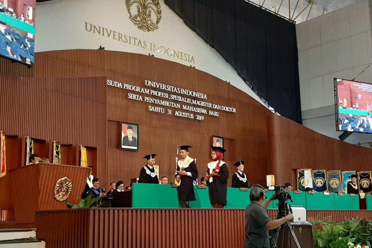 Upacara wisuda Universitas Indonesia (UI) semester genap tahun akademik 2018/2019 di Balairung UI, Kampus Depok, Sabtu (31/8/2019).