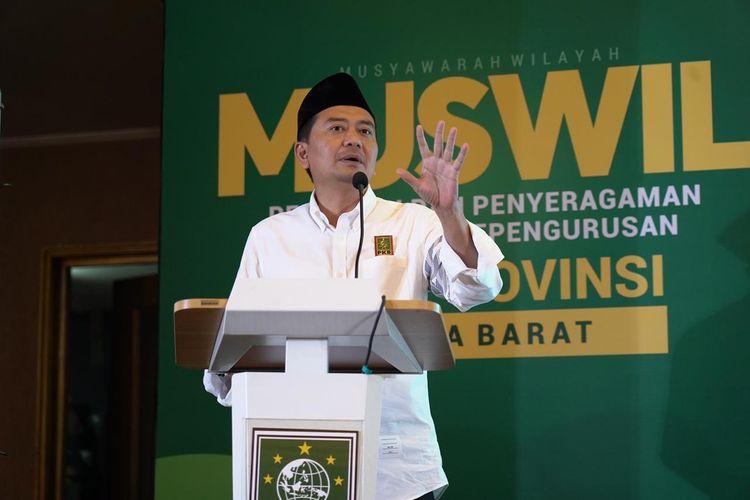 Ketua DPW PKB Jabar Syaiful Huda saat menyampaikan pidato pada pembukaan Muswil PKB di Bandung, Sabtu (9/1/2021).
