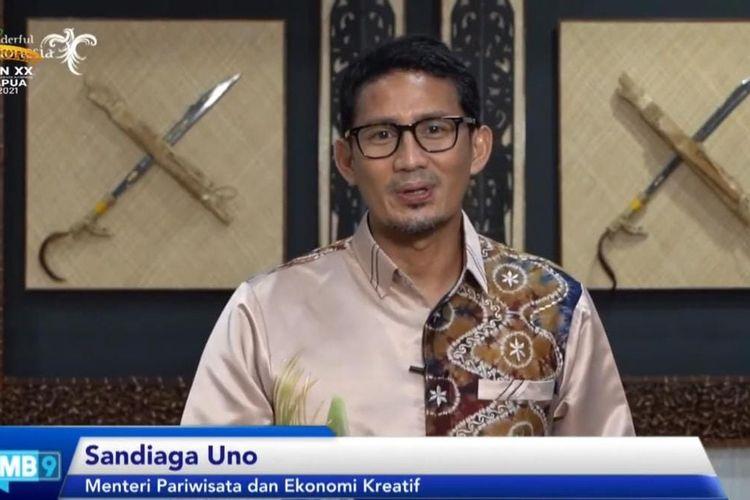 Tangkapan layar Menteri Pariwisata dan Ekonomi Kreatif Sandiaga Uno pada diskusi virtual FMB9, Kamis (2/9/2021), bertajuk PON Gerakkan UMKM dan Wisata Papua.