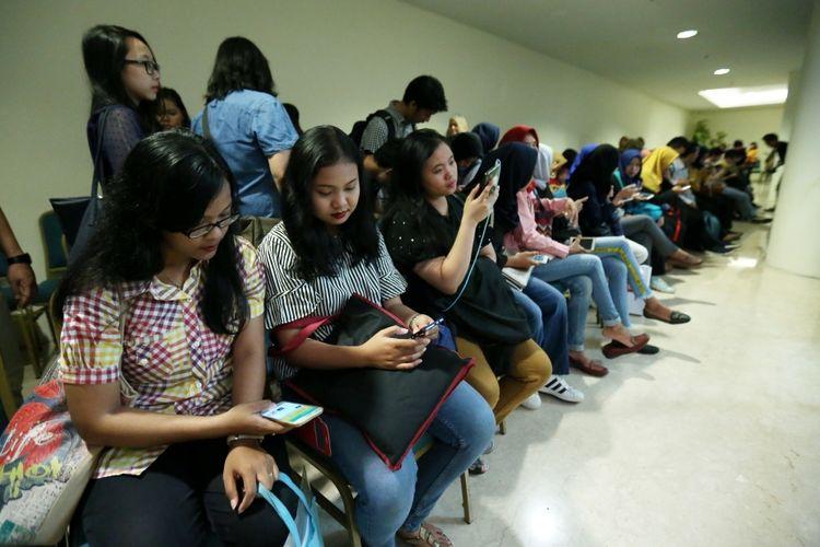 Para pencari kerja mulai memadati acara yang diadakan Kompas.com yaitu Shift di Senayan City, Jakarta, Sabtu (14/10/2017). Acara ini  mengusung tema Digital Transformation and Talent Search dengan menghadirkan sekitar 50 perusahaan yang membuka lowongan pekerjaan.