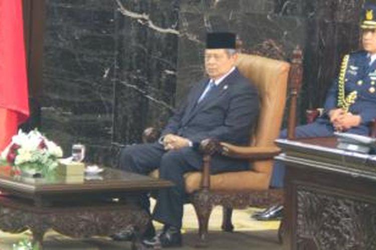 Presiden Susilo Bambang Yudhoyono hadir dalam acara pelantikan Dewan Perwakilan Rakyat dan Dewan Perwakilan Daerah (DPR/DPD), Rabu (1/10/2014) siang.