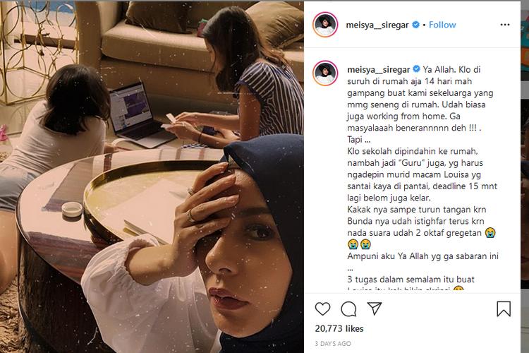 Postingan Instagram Meisya Siregar.
