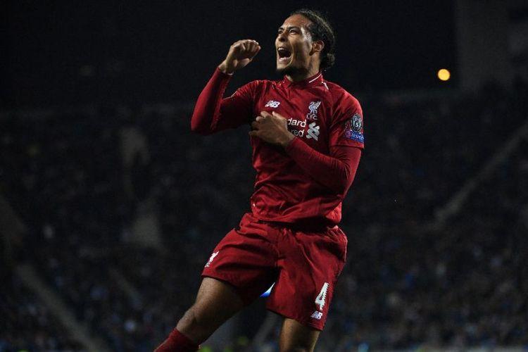 Virgil Van Dijk merayakan kemenangan di salah satu partai di Liga Champions, Selasa (30/4/2019)
