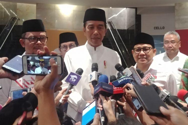 Presiden Jokowi saat menghadiri konsolidasi caleg PKB di Balai Sarbini, Jakarta, Senin (17/12/2018) siang.