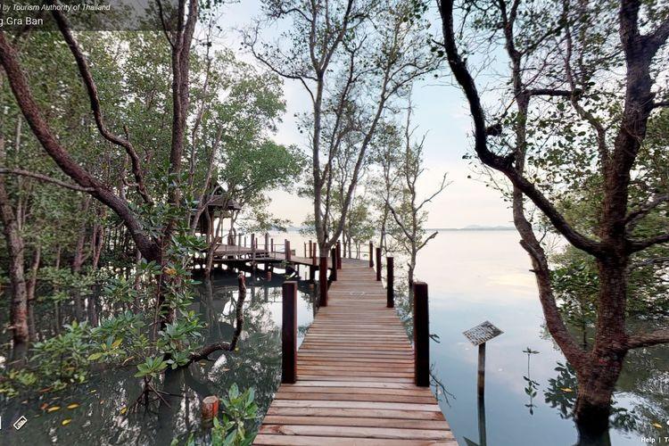Area Kung Krabaen Bay di Provinsi Chanthaburi, Thailand, memiliki jalan kecil sepanjang 1.600 meter yang dapat digunakan untuk mengamati hutan mangrove lebih dekat.