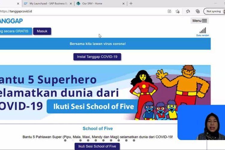 Yayu Mukaromah selaku Koordinator Program School Of Five SNV Jakarta menyampaikan materi webinar.