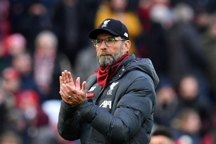 Pelatih Liverpool, Juergen Klopp, seusai timnya menang melawan Watford di Stadion Anfield, Sabtu (14/12/2019).