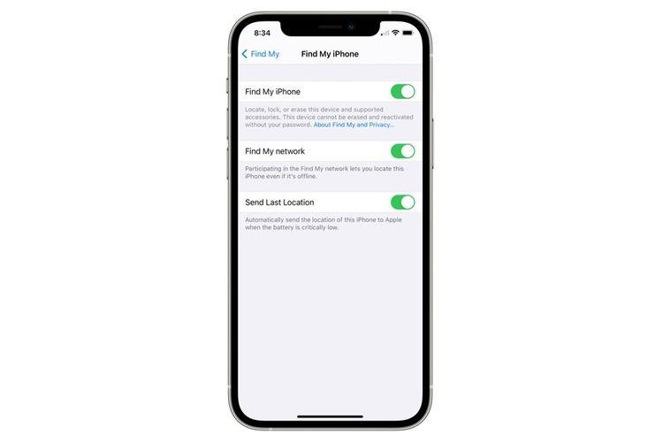 Ilustrasi fitur Find My iPhone di menu Settings.