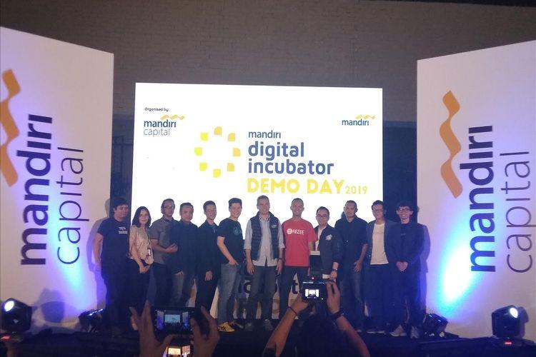 Para founder startup fintech yang mengikuti pitching session dalam acara Digital Incubator Demo Day 2019 Batch 2 MCI di Jakarta, Selasa (18/6/2019).