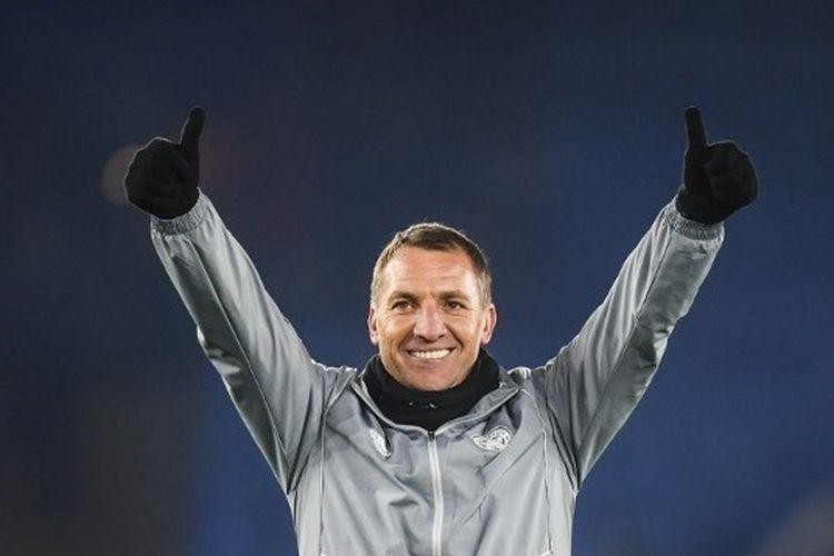 Manajer Leicester Brendan Rodgers merayakan setelah pertandingan Liga Premier antara Leicester City dan Watford FC di Stadion The King Power