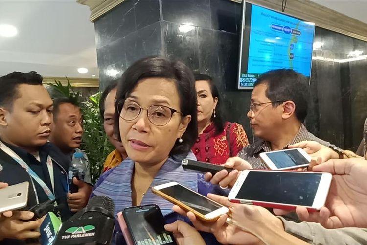 Menteri Keuangan Sri Mulyani saat menghadiri rapat konsultasi Anggaran Pagu Indikatif DPR Tahun 2020 di Gedung DPR Jakarta, Kamis (20/6/2019).