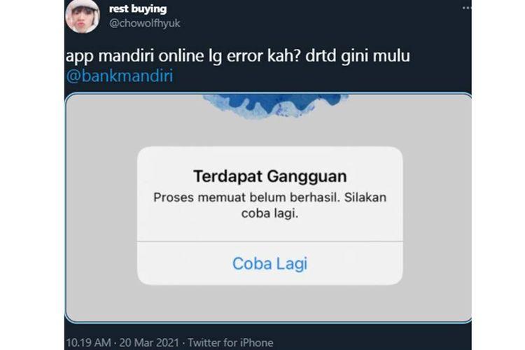 Tangkapan layar twit dari warganet yang mengeluhkan aplikasi Mandiri Online milik Bank Mandiri mengalami error.