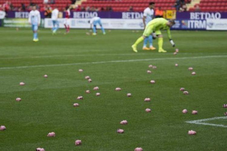 Suporter Charlton Athletic dan Coventry City melempar boneka babi pada Sabtu (15/10/2016), sebagai bentuk protes kepada pemilik klub  pada Sabtu (15/10/2016).