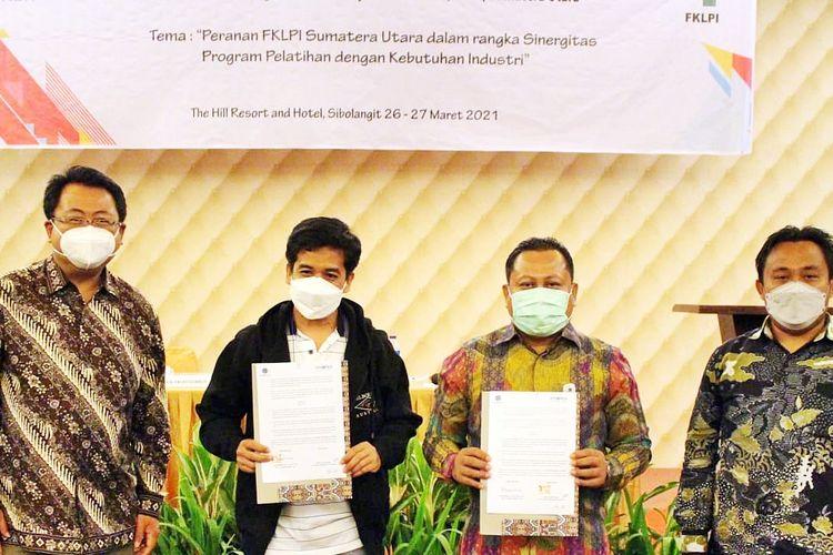 Rapat Koordinasi Forum Komunikasi Lembaga Pelatihan dan Industri (FKLPI) Sumatera Utara di Sibolangit Berastagi, Sumatera Utara, pada Jumat (26/3/2021).