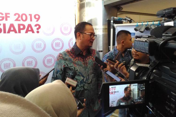 Direktur Jenderal Aplikasi dan Informatika Kementerian Komunikasi dan Informatika Semuel A. Pangerapan saat ditemui dalam diskusi nasional bertajuk Kebijakan Keamanan Siber: Keamanan Negara vs Hak Publik di Gedung BPPT, Jakarta, Rabu (9/10/2019).