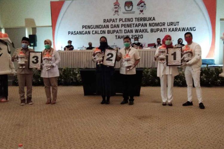 Komisi Pemilihan Umum (KPU) Karawang menggelar penentuan dan penetapan nomor urut pada pemilihan Bupati dan Wakil Bupati Karawang 2020, Kamis (24/9/2020).