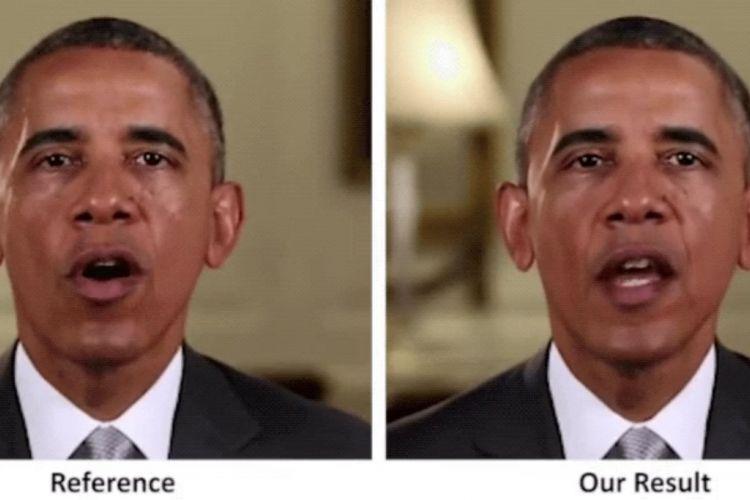 Kiri: Rekaman asli Barack Obama. Kanan: Simulasi video dengan teknologi Deep Video Portraits.