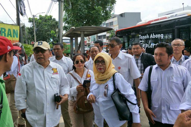Rombongan dari DPD Partai Gerindra DKI Jakarta usai sidak ke kawasan Tanah Abang, Sabtu (20/1/2018).