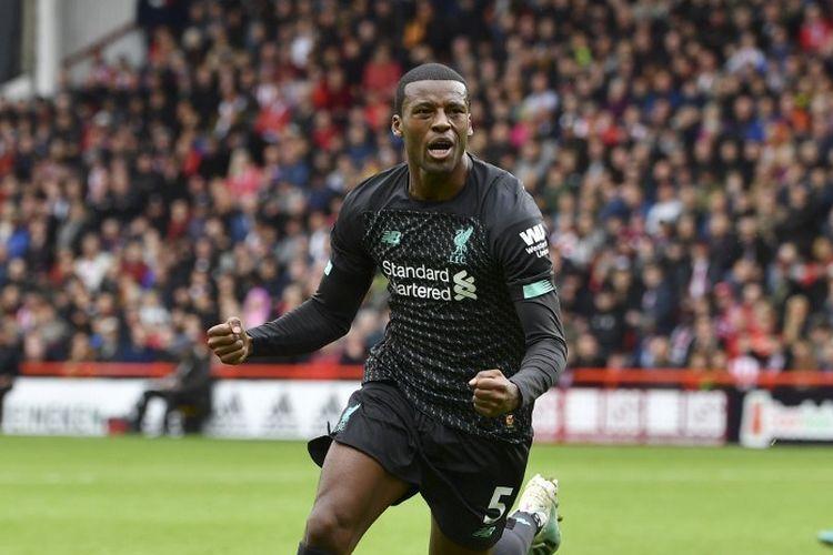 Georginio Wijnaldum saat merayakan gol pada laga Sheffield United vs Liverpool, di Stadion Bramall Lane, Sabtu (28/9/2019).