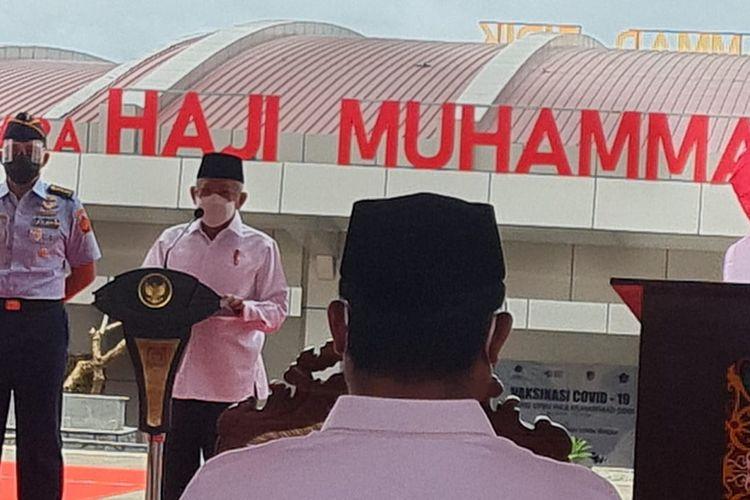 Wapres Ma'ruf Amin saat meresmikan Bandara Haji Muhammad Sidik di Muara Teweh, Kabupaten Barito Utara, Kalimantan Tengah, Selasa (30/3/2021).